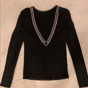 Balmain black crystal chain V-back top